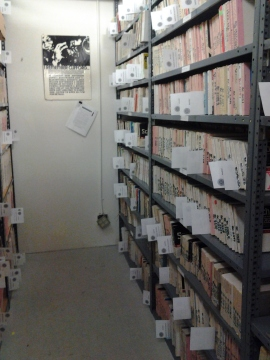 The vault shelves where the tapes are pulled from. Each of those shelf markers is a tape on it's way to being digitized!